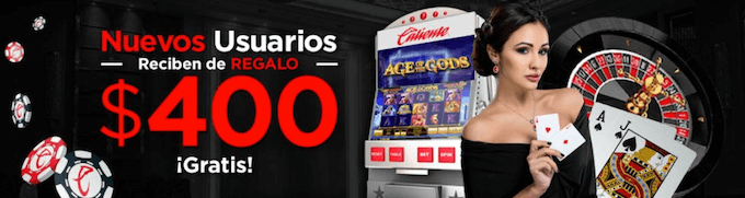 Caliente casino bono de bienvenida sin deposito de $400 mxn.