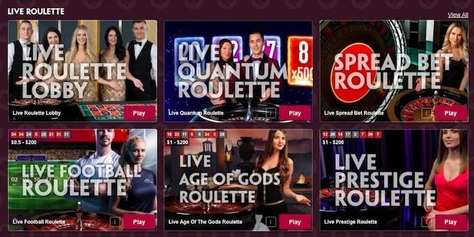 Juegos de casino en vivo con Paddy Power casino online.