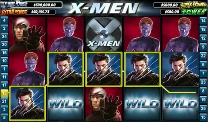 Símbolos Wild y líneas de pago en el slots de x men online.
