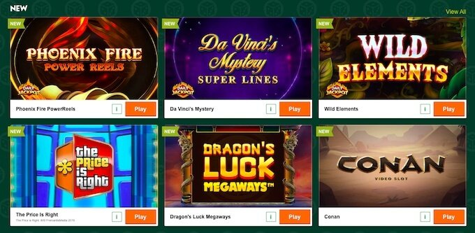 Variedad de juegos de casino en el casino online Paddy Power.