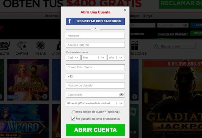 Paso 2.- Llena el formulario de registro Caliente mx.