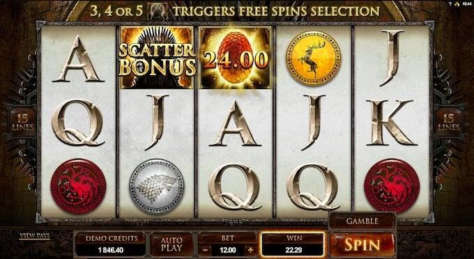 Scatter bonus en la tragamoneda de Game of Thrones.