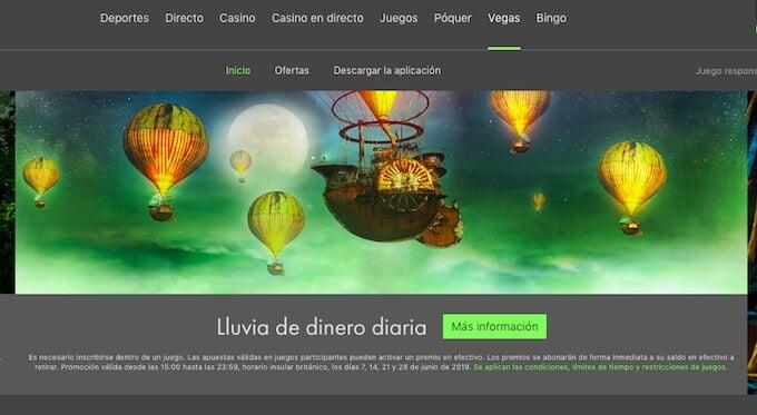 Secciones del casino online Bet365